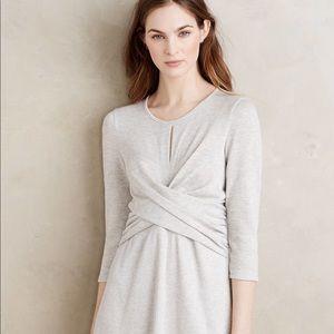 Anthropologie Adams Crosswrap Dress Light Grey